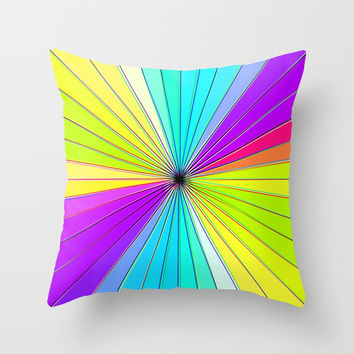 Color Burst III (Purple // Lime Green) Throw Pillow by AEJ Design