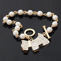 Fashion Simple Pearl Crystal Rhinestone Dog Animal Silver/Gold Bracelet Bangle