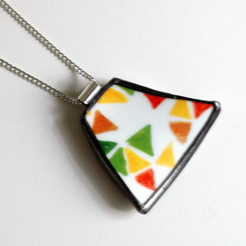Broken Plate Pendant on Chain - Modern Colorful Triangles - Recycled China