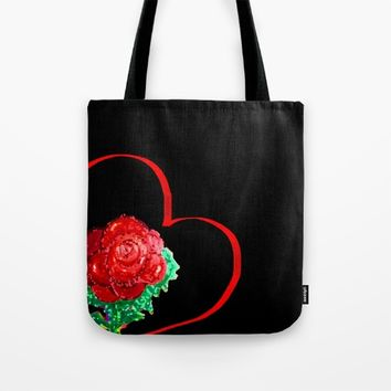 Heart of Rose Tote Bag by ES Creative Designs