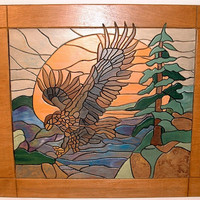 Wood Sculpture Wall Art, Hawk Taking Flight, Intarsia Wood Wall Decor, Wall Hanging for Your Rustic Home Decor, Great for Man Cave Decor.