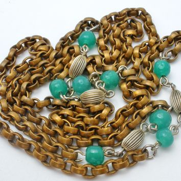 Art Deco Brass Chain Necklace with Green Beads