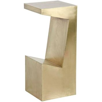C-Centric Side Table, Large, Antique Brass