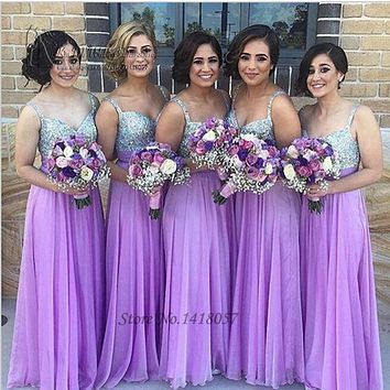 Robe demoiselle d'honneur Purple Bridesmaid Dresses 2016 Sequin Silver Wedding Party Dress Gowns Chiffon Bruidsmeisjes Jurk