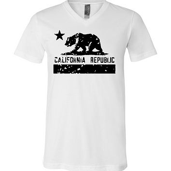 California Flag Black Print Silhouette Asst Colors V-Neck