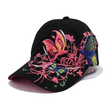 LMFG8W LOVINGSHA Fashion spring and summer butterfly embroidery Colorful flower women's sun-shading Baseball Cap Women Hip Hop Hat B308