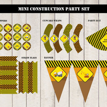 MINI Construction Party SET, Instant download party kit, digital PDF, you print