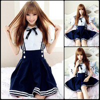 2015 Girl Maid Sailor Lolita Dress Striped Two Piece Blouse+Skirt Cute Unifrom
