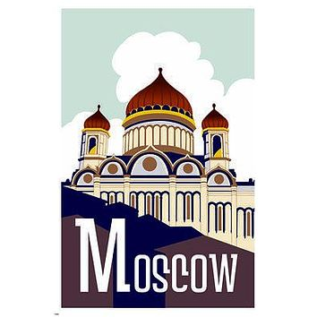 MOSCOW Vintage Travel Poster 24X36 ONION DOMES Architecture COLLECTORS NEW