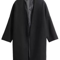 Black Open Front 3/4 Sleeve Longline Coat