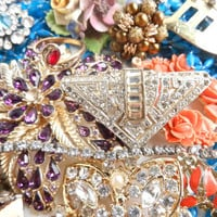 Broken Vintage Jewelry Lot - Necklaces, Earrings, Pins, Rhinestones / Over 1 Pound Retro Supplies