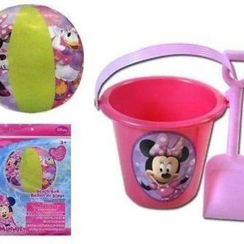 Licensed Disney Minnie Mouse Bowtique Sand Bucket & Shovel w/Beach Ball Set