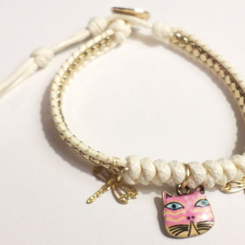 Women's/Girl's ivory waxed cotton cord gold beaded friendship bracelet with pink cat charm and gold fireflies - great for stacking