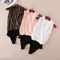 SLEEVELESS CRISSCROSS CHIFFON BODYSUIT