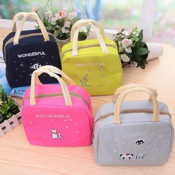 Cartoon Animals Lunch Bags Women Portable Insulated Thermo Cooler Bags Thermal Food Picnic Kids Girl Lunch Insulation Box Bag