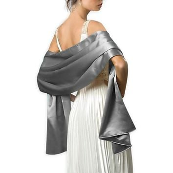 Elegant women Satin wrap shawl Evening party wrap Bridal Wedding shawl wrap 2 size available Free shipping OEM order accepted