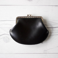 Vintage Black Coin Purse with Silver Snap Closure | Minimal Style Classic Design