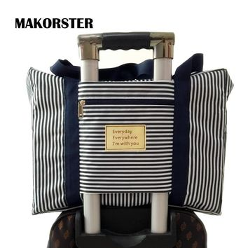 MAKORSTER Fashion Women travel bag weekend Oxford Striped duffle bag luggage travel bags for women handbags YY118