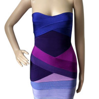Strapless Bandage Color Block Dress