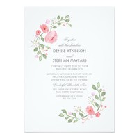 Watercolor Florals Wedding Invitation