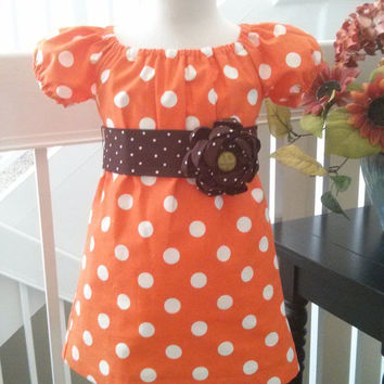 Girls Fall Dress, Orange Dots and Brown Rosette Sash, Boutique Style, Tunic, Toddlers, Custom sizes 12M-5T