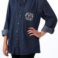 Monogrammed Denim ButtonUp Shirt by luluandtommie on Etsy