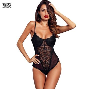 ZKESS Women Sexy Black White Sheer Lace Mesh Patchwork Bodysuits Push up Hammock Skinny Langerie Body Suit para mulheres LC32231