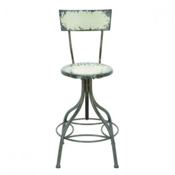 Distressed Metal Bar Stool with Back