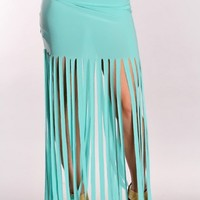 Sea Foam Fringed Maxi Skirt