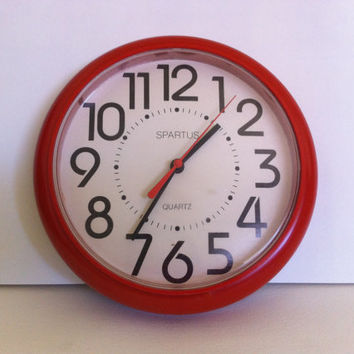 Vintage cherry red wall clock