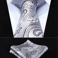 "TP923A8S Gray Black Paisley 3.4"" Silk Woven Men Tie Necktie Handkerchief Set Party Wedding Classic Pocket Square Tie"