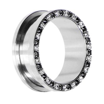 26mm Stainless Steel Black Clear Gem Screw Fit Tunnel