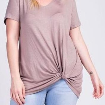 Maya Curve Knotted Tunic Top in Latte