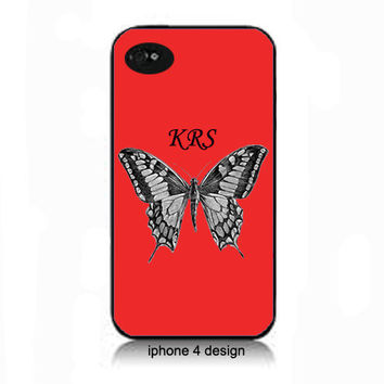 Red Butterfly with Monogram Iphone 4 ell phone accessory case, Iphone cover