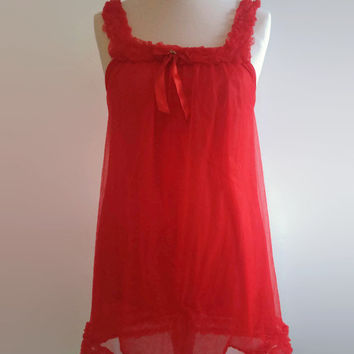 Bright red vintage nightgown - 1960s deep red babydoll - ruffled nylon nightdress -  60s frilly night gown