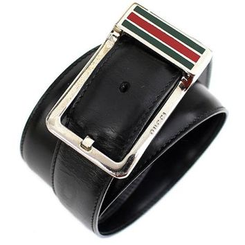 GUCCI Sherry Line Black Leather Silver Buckle Belt Size 90 #40837 Free Shipping