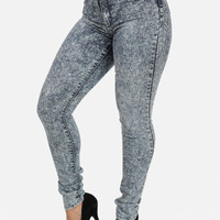 Acid Wash High-rise Skinny Jeans