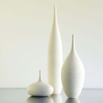 Large White Modern Ceramic Bottle Vase Trio by Sara by sarapaloma