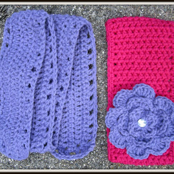 Crochet Baby Headband and Scarf, Child Earwarmer, Pink Ear Warmer and Purple Scarf, Knit, Made to Order, Removable Flower
