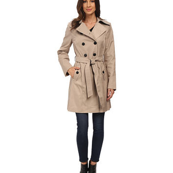 DKNY Double Breasted Belted Trench with Faux Leather Trim