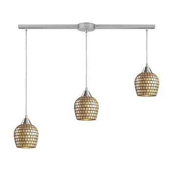 Fusion 3-Light Linear Pendant Fixture in Satin Nickel with Gold Leaf Mosaic Glass