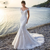 Elegant O Neck Sheer Mermaid Wedding Dresses With Appliques Lace Zipper Back Long Train Vestido De Novia 2016 Sirena Renda