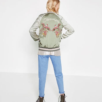 BIRD EMBROIDERED BOMBER JACKETDETAILS