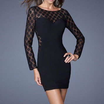 La Femme - 19817 Long Sleeve Sheer Polka Dot Jersey Dress