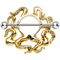 Gleaming Goldie the Octopus Nipple Shield | Body Candy Body Jewelry