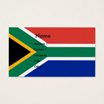 Business Card with Flag of South Africa