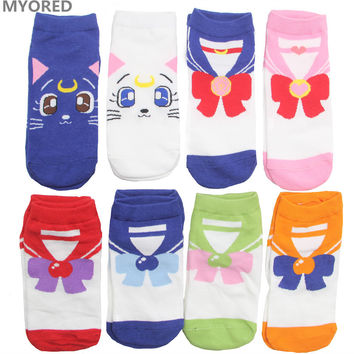 MYORED female cartoon sailor moon ankle socks women cotton invisible bow tie short sock girls lady cute cat animal sock slippers