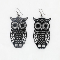 Black Hollow Owl Shape Earrings