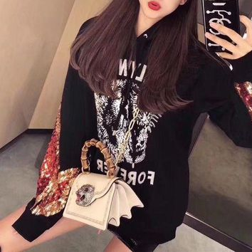 ONETOW Gucci' Women Casual Fashion Embroidery Flame Sequin Letter Tiger Head Print Hooded Long Sleeve Sweater Sweatshirt Tops
