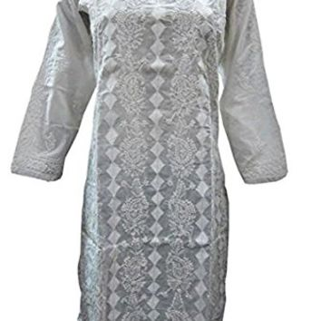 Tunic Designer Paisley Embroidered Kurta Dress White Cotton Tops S